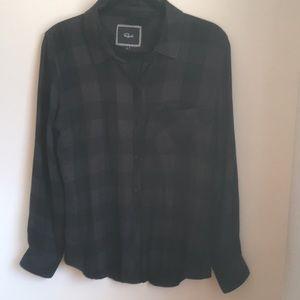 Rails Gray and Black Check Plaid Shirt